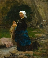 Washerwoman in Brittany painting reproduction, Jules Breton