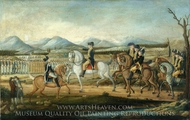 Washington Reviewing the Western Army at Fort Cumberland, Maryland painting reproduction, Frederick Kemmelmeyer