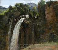 Waterfall at Terni painting reproduction, Jean-Baptiste Camille Corot
