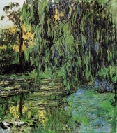 Weeping Willow and Water-Lily Pond painting reproduction, Claude Monet
