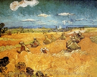 Wheat Stacks with Reaper painting reproduction, Vincent Van Gogh