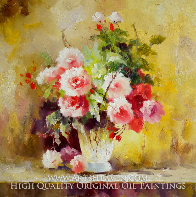 Various Artist, White Vase with Colorful Flowers oil painting reproduction