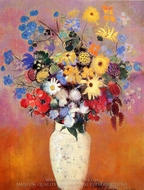 White Vase with Flowers painting reproduction, Odilon Redon