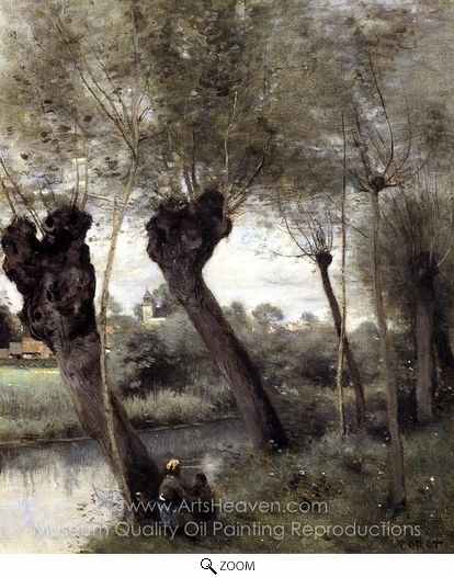 Jean-Baptiste Camille Corot, Willows on the Banks of the Scarpe oil painting reproduction