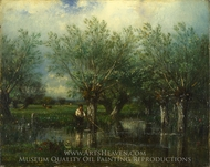 Willows, with a Man Fishing painting reproduction, Julien Dupre