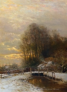 Winter Landscape with Peasant Woman and Child painting reproduction, Louis Apol