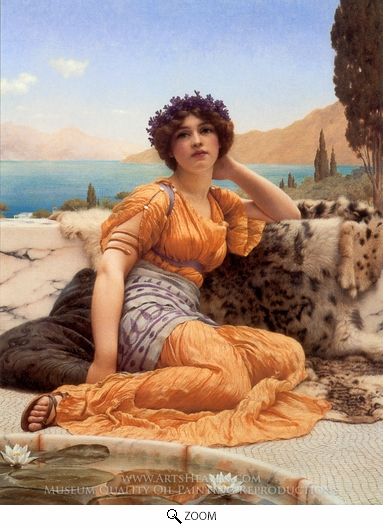 John William Godward, With Violets Wreathed and Robe of Saffron Hue oil painting reproduction