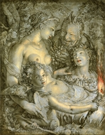 Without Ceres and Bacchus, Venus Would Freeze painting reproduction, Hendrik Goltzius