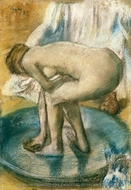 Woman Bathing in a Shallow Tub painting reproduction, Edgar Degas