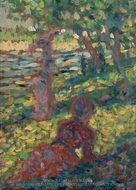 Woman in a Park painting reproduction, Georges Seurat