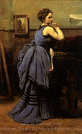 Woman in Blue painting reproduction, Jean-Baptiste Camille Corot
