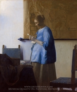 Woman in Blue Reading a Letter painting reproduction, Jan Vermeer