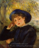 Woman Leaning on Her Elbow (Mademoiselle Demarsy) painting reproduction, Pierre-Auguste Renoir