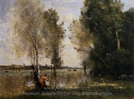 Woman Picking Flowers in a Pasture painting reproduction, Jean-Baptiste Camille Corot