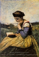 Woman Reading in a Landscape painting reproduction, Jean-Baptiste Camille Corot