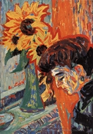 Woman's Head with Sunflower painting reproduction, Ernst Ludwig Kirchner