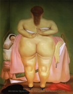 Woman Stapling Her Bra painting reproduction, Fernando Botero