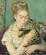 Woman with a Cat painting reproduction, Pierre-Auguste Renoir