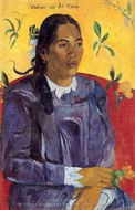 Woman with a Flower (Vahine no te tiare) painting reproduction, Paul Gauguin