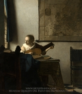 Woman with a Lute near a Window painting reproduction, Jan Vermeer