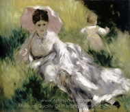 Woman with a Parasol and Small Child on a Sunlit Hillside painting reproduction, Pierre-Auguste Renoir