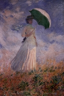Woman with a Parasol Facing Right painting reproduction, Claude Monet