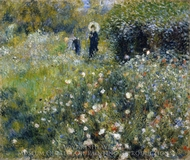 Woman with a Parasol in a Garden painting reproduction, Pierre-Auguste Renoir