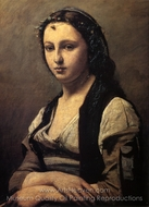 Woman with a Pearl painting reproduction, Jean-Baptiste Camille Corot