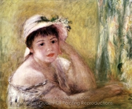 Woman with a Straw Hat (Alphonsine Fournaise) painting reproduction, Pierre-Auguste Renoir