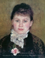 Woman with White Jabot painting reproduction, Pierre-Auguste Renoir