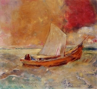 Yellow Boat painting reproduction, Odilon Redon