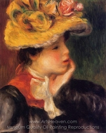 Yellow Hat painting reproduction, Pierre-Auguste Renoir