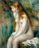 Young Girl Bathing painting reproduction, Pierre-Auguste Renoir
