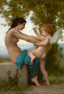 Young Girl Defending herself against Cupid (Jeune Fille se Defendant Contre L'amour) painting reproduction, William A. Bouguereau