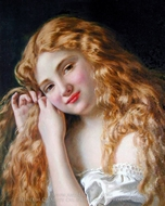 Young Girl Fixing Her Hair painting reproduction, Sophie Gengembre Anderson