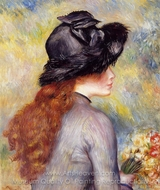 Young Girl Holding a Bouquet of Tulips painting reproduction, Pierre-Auguste Renoir