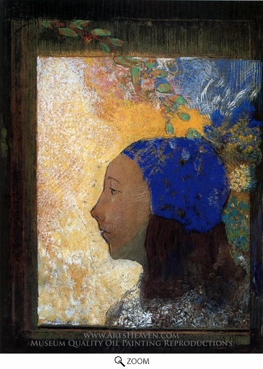 Odilon Redon, Young Girl in a Blue Bonnet oil painting reproduction