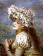 Young Girl in a Lace Hat painting reproduction, Pierre-Auguste Renoir