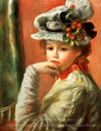 Young Girl in a White Hat painting reproduction, Pierre-Auguste Renoir