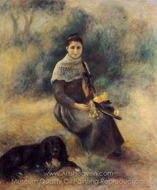 Young Girl with a Dog painting reproduction, Pierre-Auguste Renoir