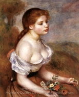 Young Girl with Daisies painting reproduction, Pierre-Auguste Renoir