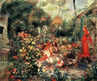 Young Girls in a Garden in Montmartre painting reproduction, Pierre-Auguste Renoir