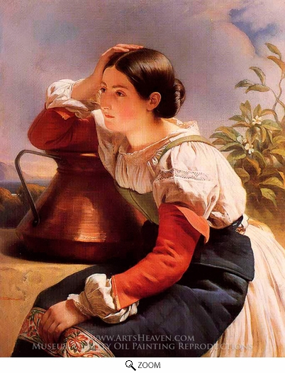 Franz Xavier Winterhalter, Young Italian Girl by the Well oil painting reproduction