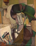 Young Man with a Fountain Pen painting reproduction, Diego Rivera