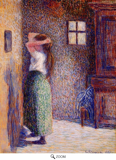Camille Pissarro, Young Peasant at Her Toilette oil painting reproduction