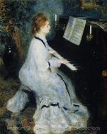 Young Woman at the Piano painting reproduction, Pierre-Auguste Renoir