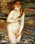 Young Woman Bathing painting reproduction, Pierre-Auguste Renoir