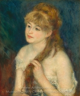 Young Woman Braiding her Hair painting reproduction, Pierre-Auguste Renoir