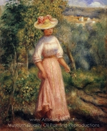 Young Woman in Red in the Fields painting reproduction, Pierre-Auguste Renoir