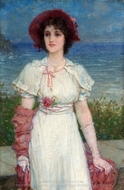 Young Woman in White by the Sea painting reproduction, Edwin Austin Abbey